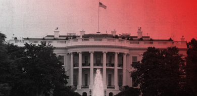 White House with red and white background and fountain