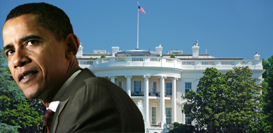 President Obama in front of the White House