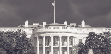 White House in black and white against dark sky