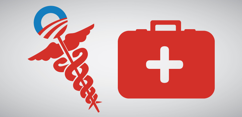 Obamacare symbol and first aid kit
