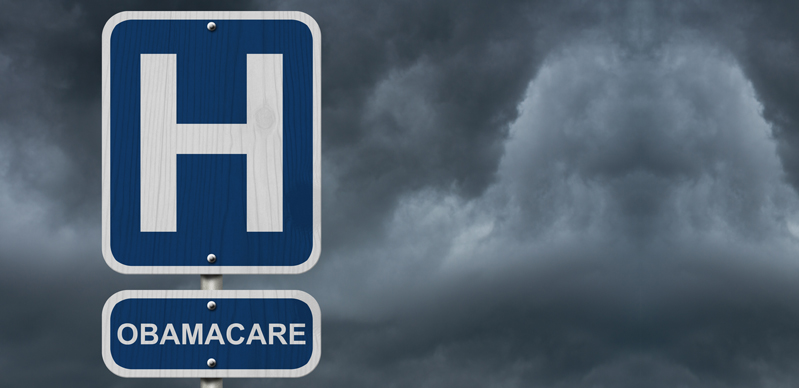Obamacare under a Hospital sign