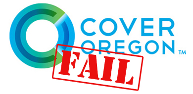 Green and blue cover oregon symbol with red fail stamp
