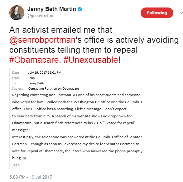 Obamacare traitor: Promptly hangs up on constituent