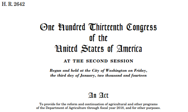 us agricultural act of 2014 farm The 2013 eu cap and 2014 us farm billwith the 2013 eu common agricultural policy (cap) and the us agricultural act of 2014, two major actors in world markets with longstanding high levels of.