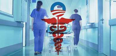 Obamacare symbol and hospital hall with stretcher and nurses