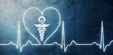 blue background with Obamacare symbol and heart monitor