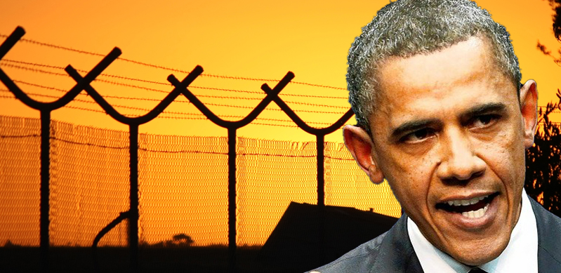 Border fence in background/Obama in foreground